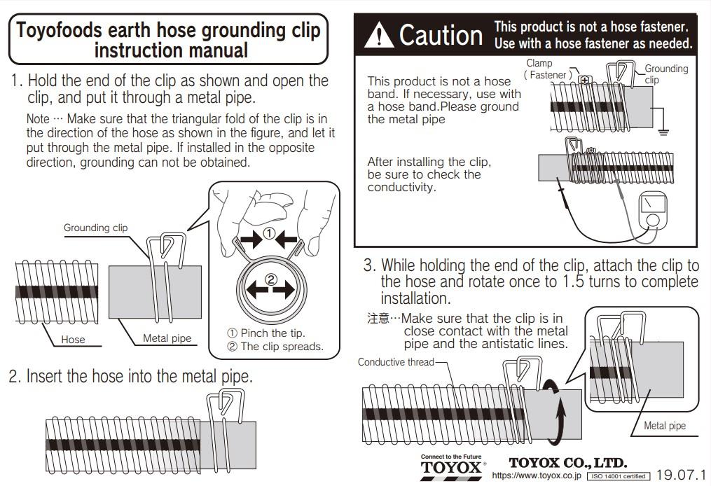 การติดตั้งคลิปต่อกราวด์เฉพาะสำหรับท่ออ่อน TOYOFOODS EARTH